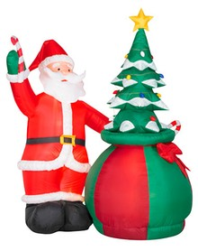 inflatable santa claus with christmas tree